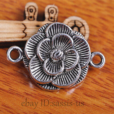 20pcs 26mm Charms Rose Flower Pendant Coneector Tibet Silver DIY Jewelry A7103