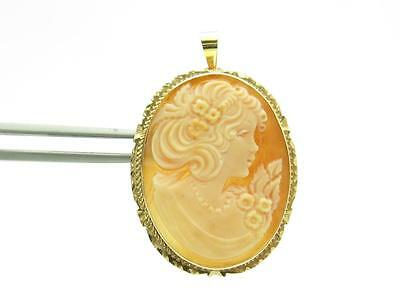 14K Yellow Gold Vintage Estate Antique Cameo Brooch or Pendant 4.5 Grams Gift