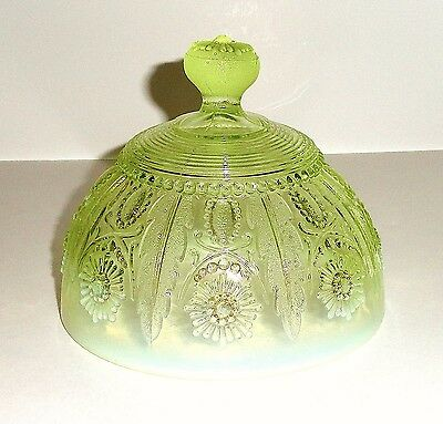 """Northwood ENCORE, JEWEL & FLOWER Canary Opalescent 5.5"""" Butter Lid Only c.1905"""