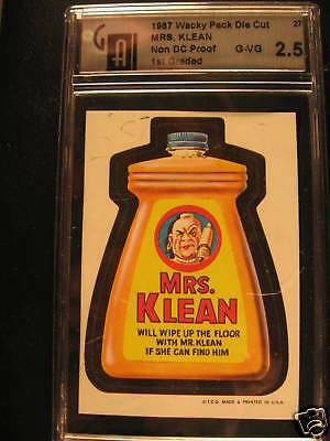 1967 Wacky Pack Die Cut PROOF #27 Mrs Klean GAI 2.5