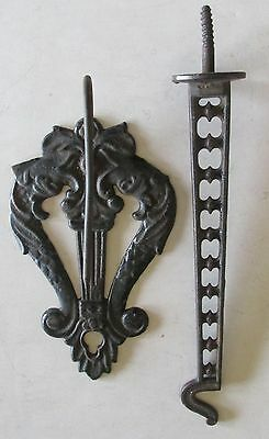2 Antique/Victorian Wall Paper Receipt Holder & Long Hook Cast Iron