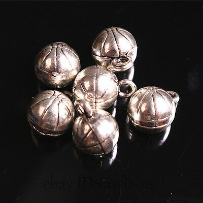 20pcs 14mm charms Basketball solid Ball Pendant DIY Jewelry Tibet Silver A7679