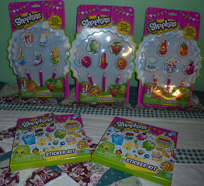 Pencils  5 erasers and sticker kit Shopkins set kit Several Choices NEW girl fun