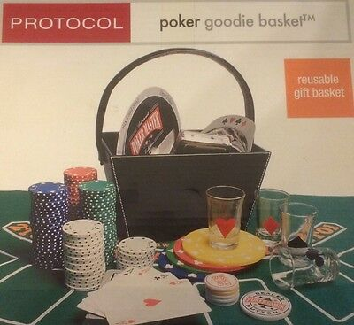 New PROTOCOL Casino POKER CHIPS CARDS SET Dealer Buttons Shot Glasses Coasters +
