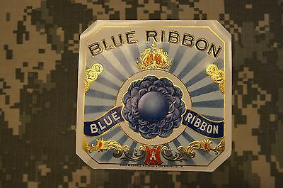 Blue Ribbon Original Unused Vintage Embossed Inner Cigar Box Label Collectable