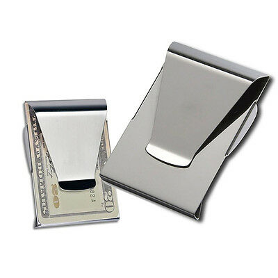 Fashion Slim Steel Money Clip Double Sided Credit Card Holder Wallet Hot
