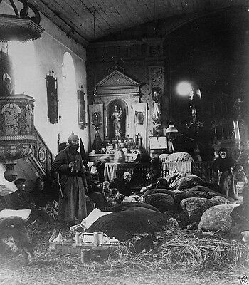 French soldier and refugees taking shelter in a church World War I 8x10 Photo