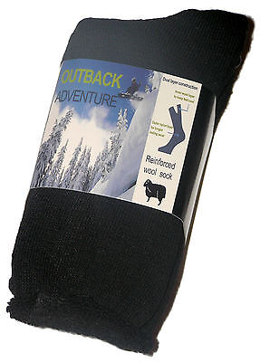 3 Pairs Brand New Boys Sz 2-8 Black Thermal Wool Socks