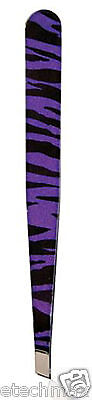ZEBRA ANIMAL Print Safari  SLANT TWEEZER STAINLESS STEEL -- Purple