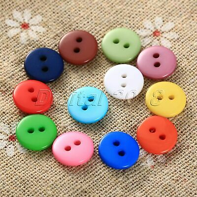 100Pcs Set Round Resin 2 Holes Clothes Sewing Buttons Scrapbook DIY Random Color