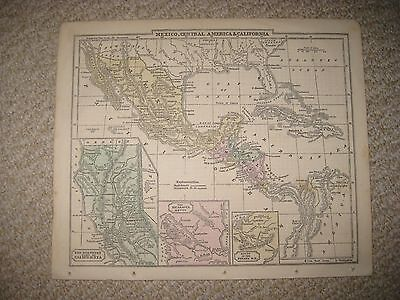 Antique 1859 Mexico Central America California Map San Francisco Sacramento Nr