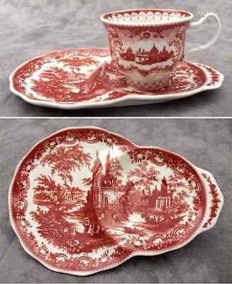 RED & CREAM TRANSFERWARE VICTORIAN TOILE TEA AND TOAST SET ~ Tea and Crumpet ~