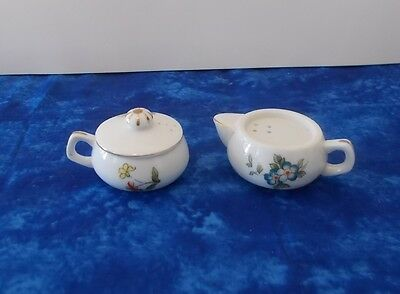 Small Floral Creamer and Sugar Dish Salt and Pepper Shakers made in Japan