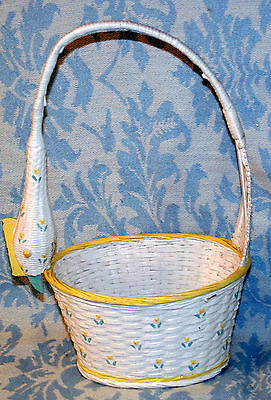Vintage White Wicker Basket W/ Dainty Flowers & Swan Head And Neck As The Handle