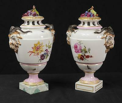 PAIR OF VERY RARE 19th CENTURY SIGNED KPM RAMS HEAD FLORAL PORCELAIN URNS