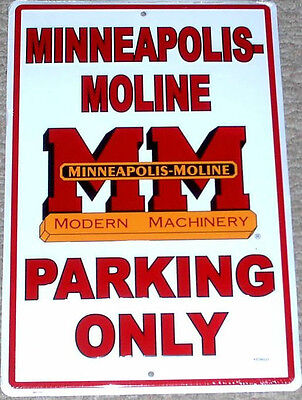 Minneapolis Moline m m parking only sign street shop tractor farm classic engine