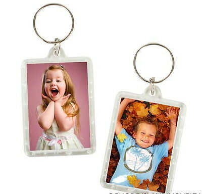 Wholesale 200 Photo Frame Keychains Key Chain Clear Transparent Insert Picture