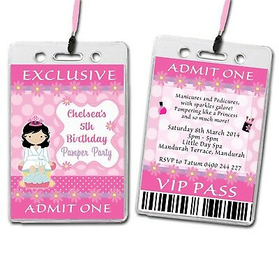 Pamper Spa Party Personalised VIP Lanyard Birthday Invitation
