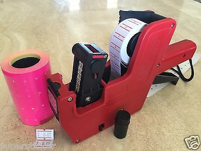 US Seller MX-5500 8 Digits Price Tag Gun Labeler + 2000 PINK Tag labels +1 Ink