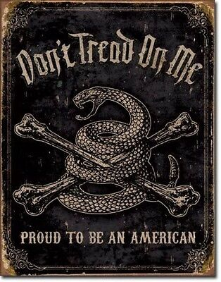 Vintage Replica Tin Metal Sign Dont tread on me Proud to be a American gun 1692
