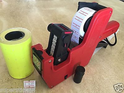 US Seller MX-5500 8 Digits Price Tag Gun Labeler + 2000 Yellow labels +1 Ink