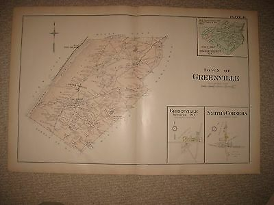 Huge Antique 1903 Greenville Orange County New York Handclr Map Minisink Logtown