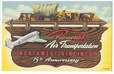 GREAT LINEN Ad! NORTHWEST AIRLINES 15th Anniversary 1941 Poster-Style Postcard