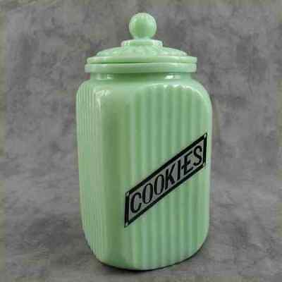 Jadeite Green Glass Tall Sq Cookie Canister Jar Ribbed Arch Panel ~Label Design~