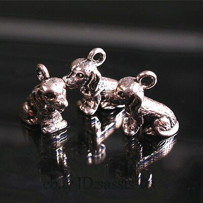 20pcs 14*14mm Charms 3D Papillon Dog Pendant Tibet Silver DIY Jewelry Bail A7687