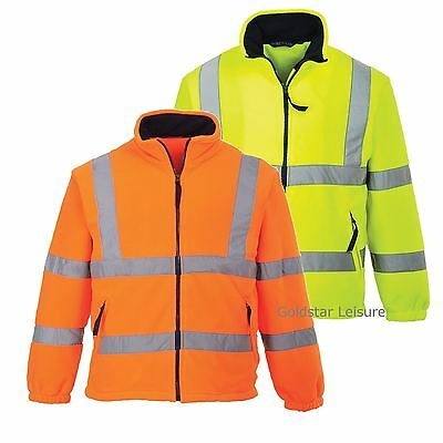 Portwest HI VIS Mesh Lined Safety Work Fleece Coat Jacket High Vis XS - 5XL F300