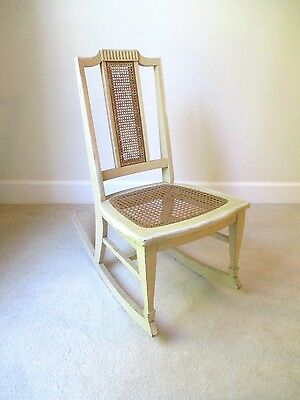 Beautiful Antique Vintage Sm Sewing Nursing Ivory Wood Rocker caned seat & back
