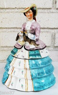 Outstanding Antique Staffordshire Lady Holds Spaniel Dog Humidor or Tea Caddy