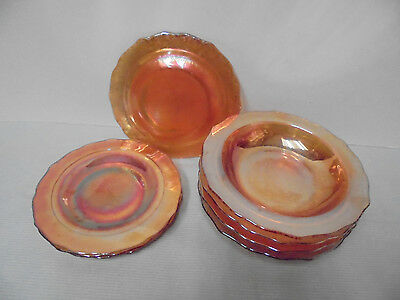 """Normandie By Federal Iridescent 4 Bowls 6.75"""" Across 4 Plates 6"""" Across Vintage"""