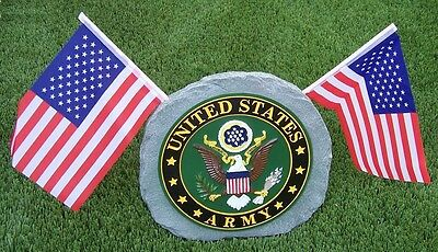 Lawn Garden Plaque Simulated Stone Military Army NEW with 2 U S Flags