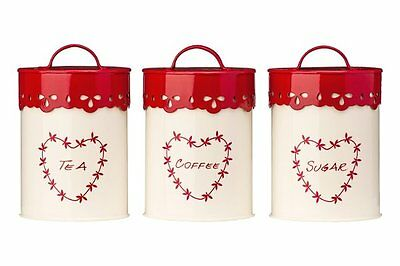 3 x Premier ANGLAISE TEA COFFEE SUGAR Canister SET Cream RED HEART Storage Tins