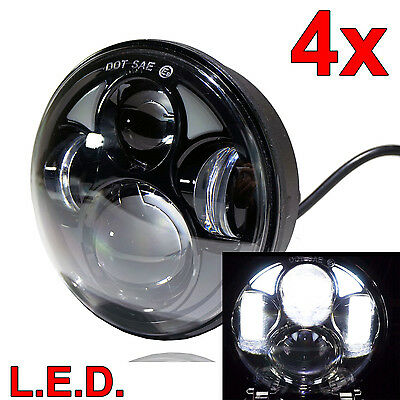Round LED 5 3/4 Inch Headlight Set Upgrade for Ford/Mercury Four Headlamps