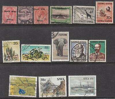 South West Africa used hi val selection 14 diff stamps cv $40