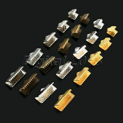 About 100Pcs Ribbon Clamps Crimp Ends Beads Clasps Hook Tips Cord DIY Useful Kit