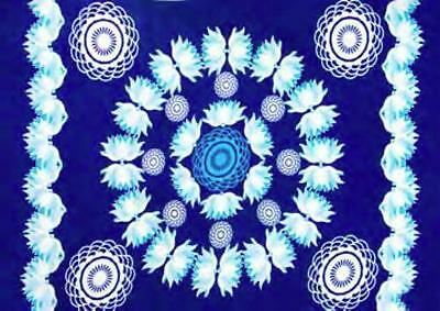 "Blue Lotus Sarong/Altar Cloth 62"" x 45"""