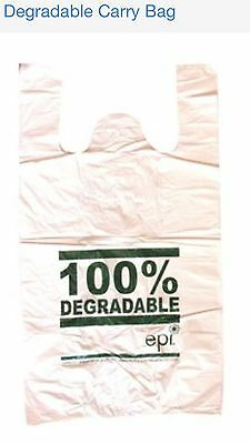 100 SMALL Plastic bags/ Shopping carry bags,  400mm x 210mm +100mm Envi.bags