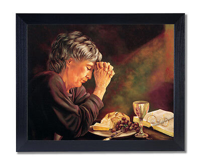 Daily Bread Woman Praying at Table Grace Religious Black Frame Art Print