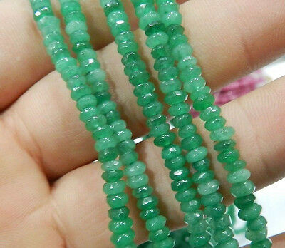 "Beautiful 2x4mm Faceted Natural Emerald Abacus Gems Loose Beads 15""AA"