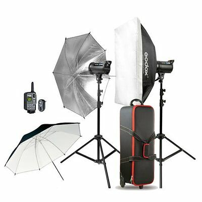 Godox 2* DS300 600WS photography Strobe Flash Umbrella Light stand Trigger Kit