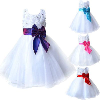 Kids Girls Lace Flower Princess Pageant Wedding Bridesmaid Party Tutu Bow Dress