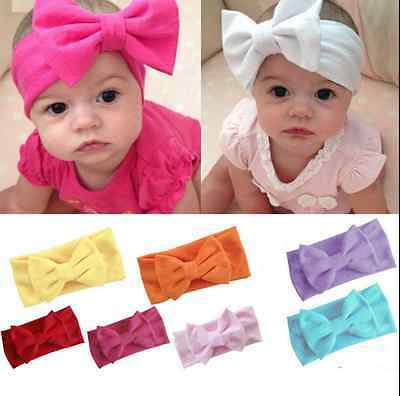 Baby Girls Big Bow Hairband Soft Elastic Headband Gifts Hair Newborn Band 2016