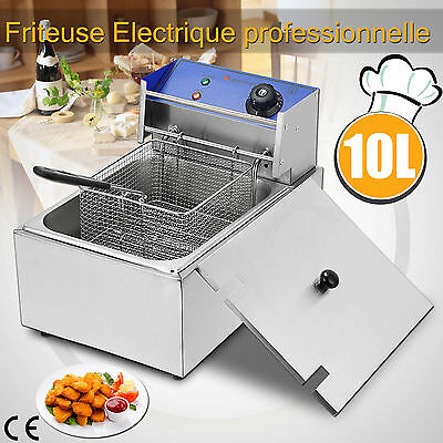 10L Friteuse Electrique Professionnel Inox Resto Barbecue Frite Deep Fryer 2500W