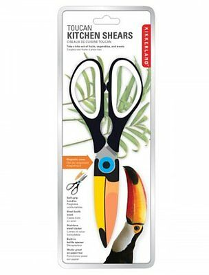 Kikkerland TOUCAN KITCHEN SHEARS Scissors with Magnetic Cover STAINLESS STEEL