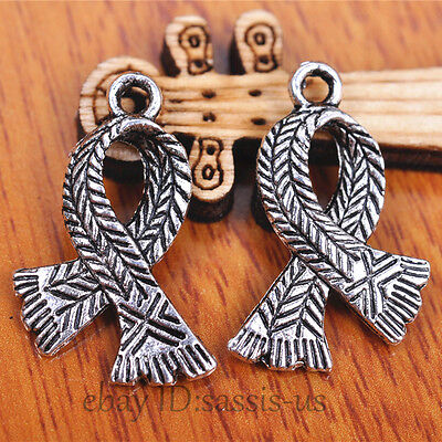 20 pieces 23mm scarf Knot Charms Pendant Tibetan Silver DIY Jewelry Making A7090