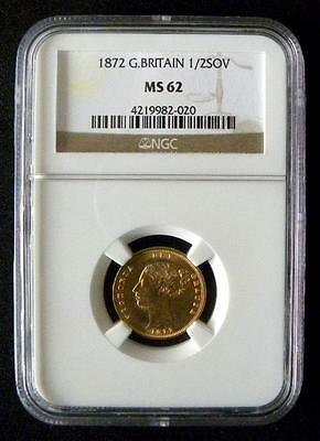 1872 - VICTORIA - Shield back GOLD Half Sovereign - Slabbed MS62 UNC - SN8916