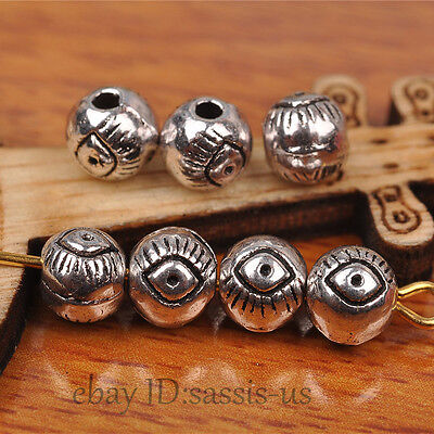 50 pieces 6mm Eye style Round Beads Tibetan Silver DIY Jewelry Making A7267